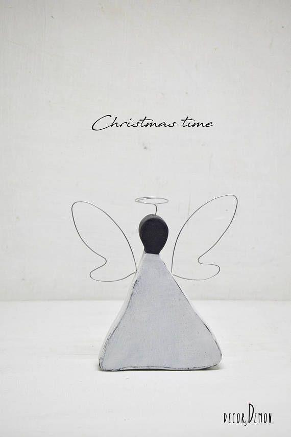 Wooden Christmas angel handmade angel by Decordemon