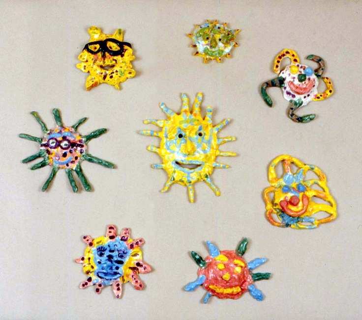 The clay suns make a cheerful display.