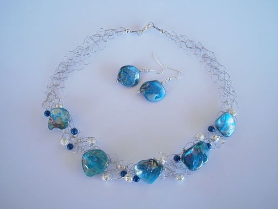 "Mother of Pearl Necklace & Earrings set. ""shop"" JoTheGreek on www.Etsy.com"