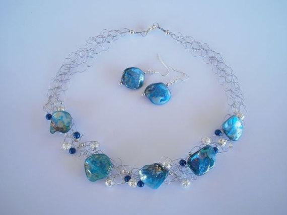 """Mother of Pearl Necklace & Earrings set. """"shop"""" JoTheGreek on www.Etsy.com"""
