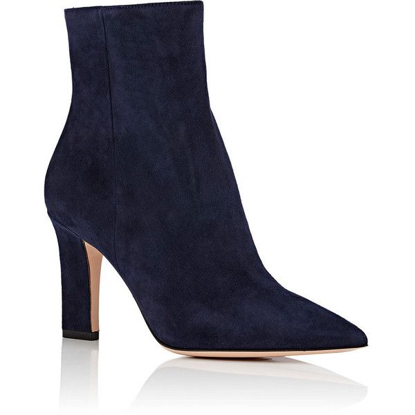 Gianvito Rossi Women's Pointed-Toe Suede Ankle Boots (18,730 MXN) ❤ liked on Polyvore featuring shoes, boots, ankle booties, ankle boots, pointy toe booties, suede ankle boots, navy booties and navy bootie