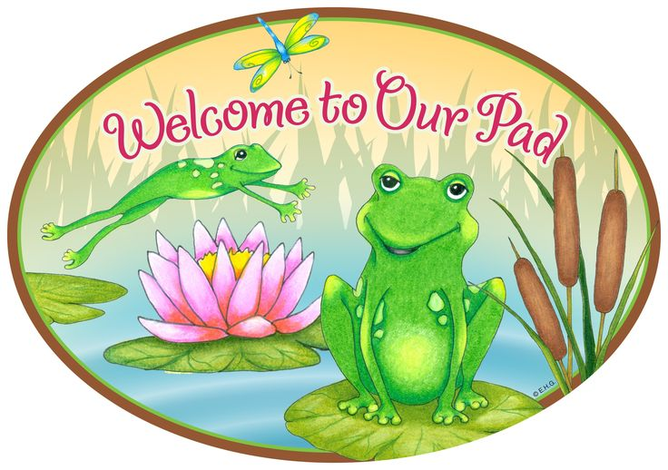 Ceramic Door Signs: Welcome To Our Pad Frog DeSigns