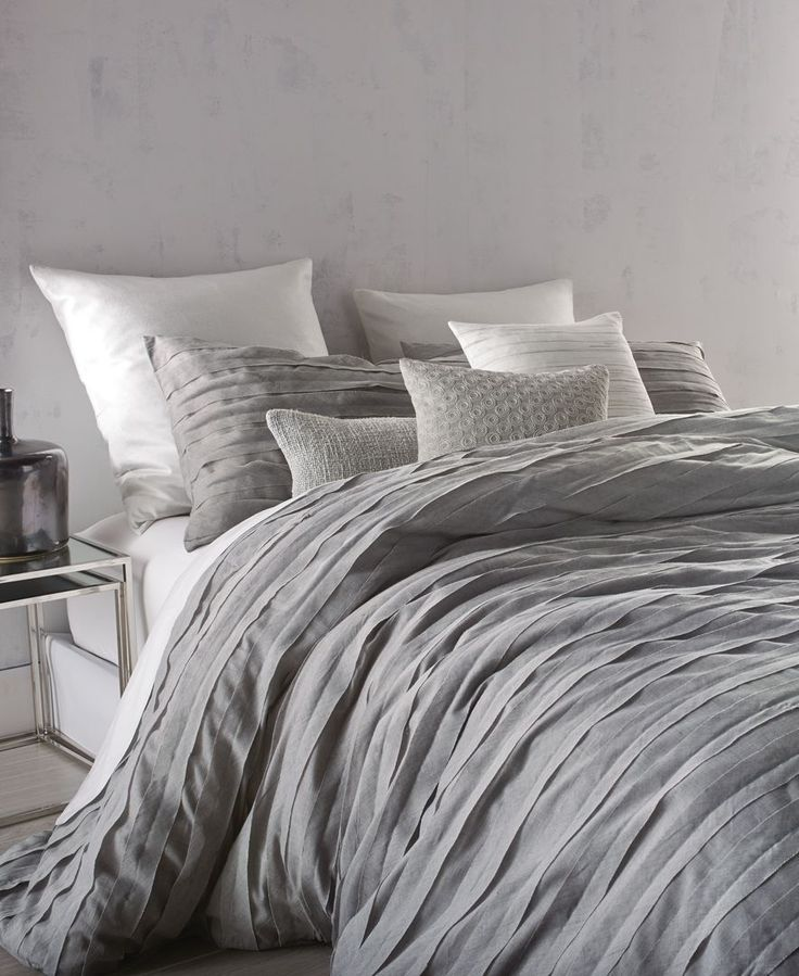 "A textured look brings stylish, modern appeal to the Loft Stripe cotton voile queen duvet cover from Dkny. | Polyester/cotton | Machine washable | Imported | Dimensions: 92"" x 96"" 