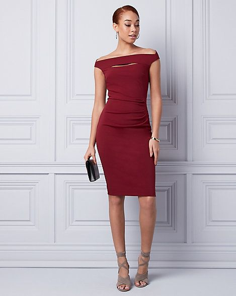 Knit Crêpe Off-the-Shoulder Shift Dress - Versatile and chic, this knit crêpe off-the-shoulder shift dress will elevate your look for any occasion.