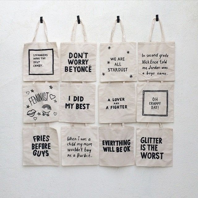 """It was fun making these welcome totes with @paulferney for our guests. We made each tote (paul painted all of them) based on my personal life…"""