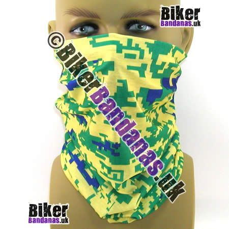 Yellow Green and Blue Pixelated Digital Camouflage Neck Tube  Bandana / Multifunctional Headwear.  One of over 400 Styles for Men and Women
