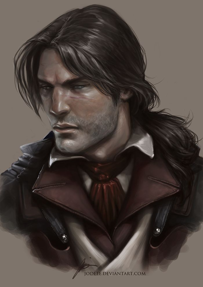 DeviantART - Arno by jodeee   ( concepts / concept / art / characters / character / digital / portrait / games / game / assassins creed / assassin / Arno Dorian / unity / long hair / ponytail / french revolution / fantasy / stubble / male / portraiture / design / )