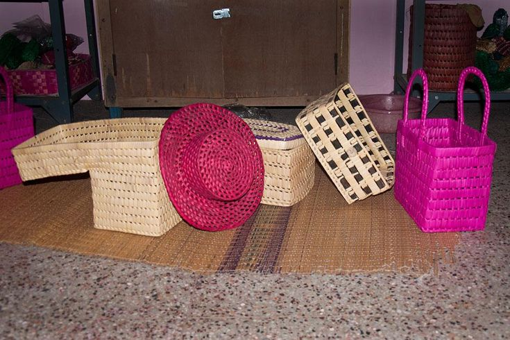 Different types and colors of palm leaf products.