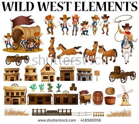 stock-vector-wild-west-cowboys-and-buildings-illustration-418580056.jpg (450×403)