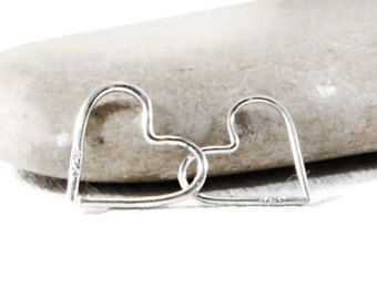 Sterling Silver Heart Tragus Earring. Unique Hoops. 12mm Silver Heart Hoop Earring. Endless Hoop Earring. Cartilage Helix Tragus. GSminimal