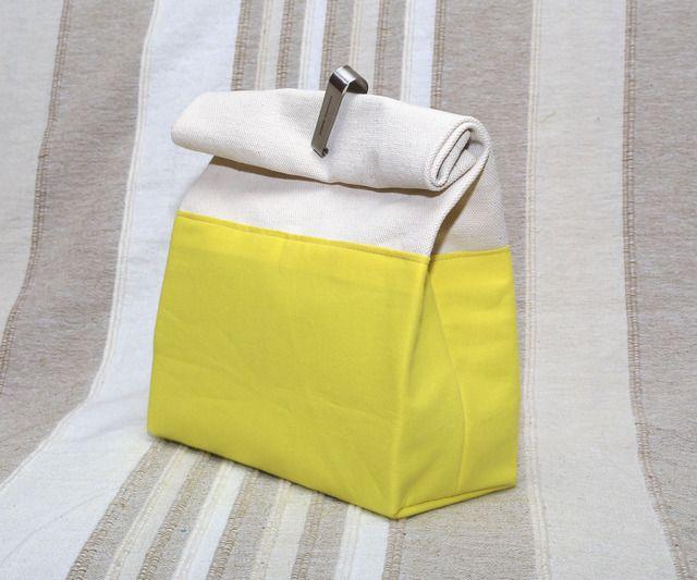 握って持つ帆布バッグ 紙袋風 レモンイエロー linea
