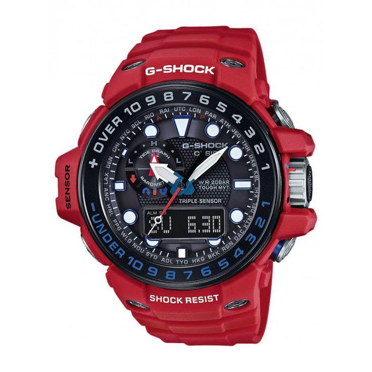 """CASIO G-Shock Gulfmaster GWN-1000RD -4AER Niesamowity zegarek wielozadaniowy Casio Gulfmaster GWN-1000RD -4AER w specjalnej wersji kolorystycznej """"Rescue Red"""". Gulfmaster to jeden z najbardziej elitarnych modeli z rodziny G-Shock. Oprócz znanego na całym świecie systemu wstrząsoodpornego, posiada dodatkowo technologie Tough Solar (zasilanie energią słoneczną wraz ze wskaźnikiem naładowania) oraz Wave Ceptor (synchronizacja czasu za pomocą fal radiowych)"""