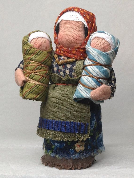 """Waldorf Mama doll with two babies (I have such a heart for """"unfinished"""" dolls)"""