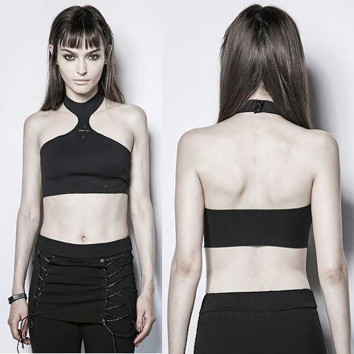 Women Black Halter Gothic Punk Rock Crop Top Scene Clothing Store SKU-11409417