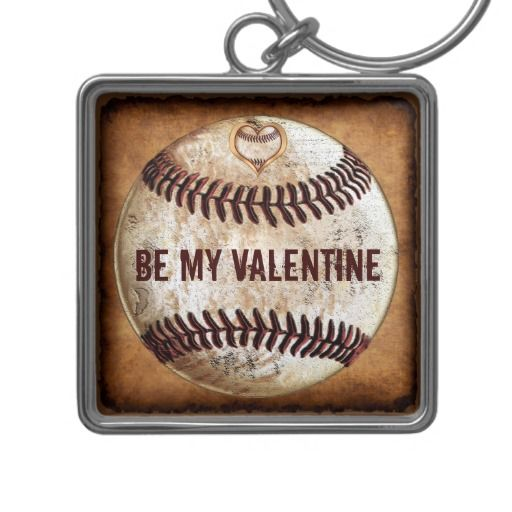 """Unique Valentines Day Gifts for Boyfriend that can be Customized or Personalized by you. Cool Vintage Baseball Keychains with YOUR TEXT or keep our """"Be My Valentine"""" written in a Grunge font. CLICK: http://www.zazzle.com/customizable_valentines_day_presents_for_boyfriend-146569953664063407?rf=238012603407381242  See more Unique Valentines Day Presents for boyfriend or husband HERE: http://www.zazzle.com/yoursportsgifts/gifts?cg=196287291800049169&rf=238012603407381242 CALL Linda at…"""