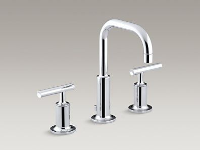 KOHLER | K-14406-4-CP | Purist® Widespread bathroom sink faucet with low lever handles and low gooseneck spout