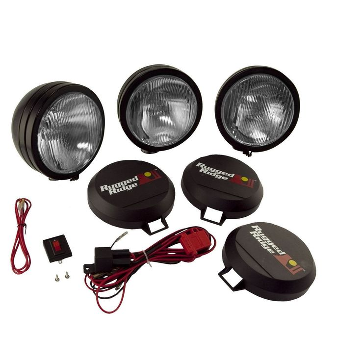6 Inch Round HID Off Road Fog Light Kit, Black Steel Housing, Set of 3