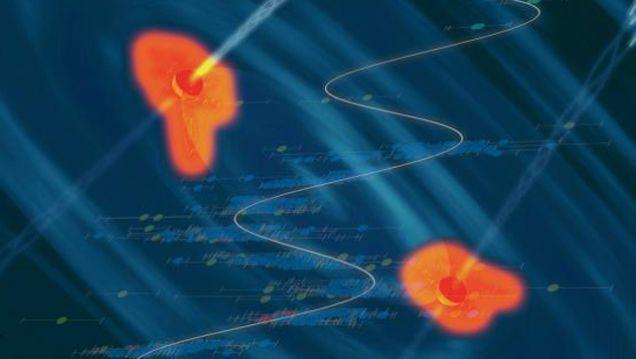 もしも本当に、この2個の巨大ブラックホールがぶつかり合ったなら、1億個の超新星爆発に匹敵する莫大なエネルギーが放出され、一気に取り巻く銀河は破壊滅亡に至るとの見通しも発表されています。一方で、天文学的にはこのペアになったブラックホールから発される重力波の検出に成功すれば、時間の進み方が他とは異なるブラックホールや宇宙の謎の解明へとつながるのでは?と、そんな期待も高まっているようです。  なお、そんな恐るべき衝突が太陽系の近くで起きたりしようものなら、とんでもない事態になってしまいますが、どうぞご安心ください。2つのブラックホールは、ともに遠く遠く離れた「PG 1302-102」銀河の中で発見されており、これから数百万年というスパンの中で生じる衝突が予期されているということですから。宇宙の観測では、こんな長い期間の出来事であっても、間近に生じるものとして位置づけられておかしくはないとの説明ですよ〜。
