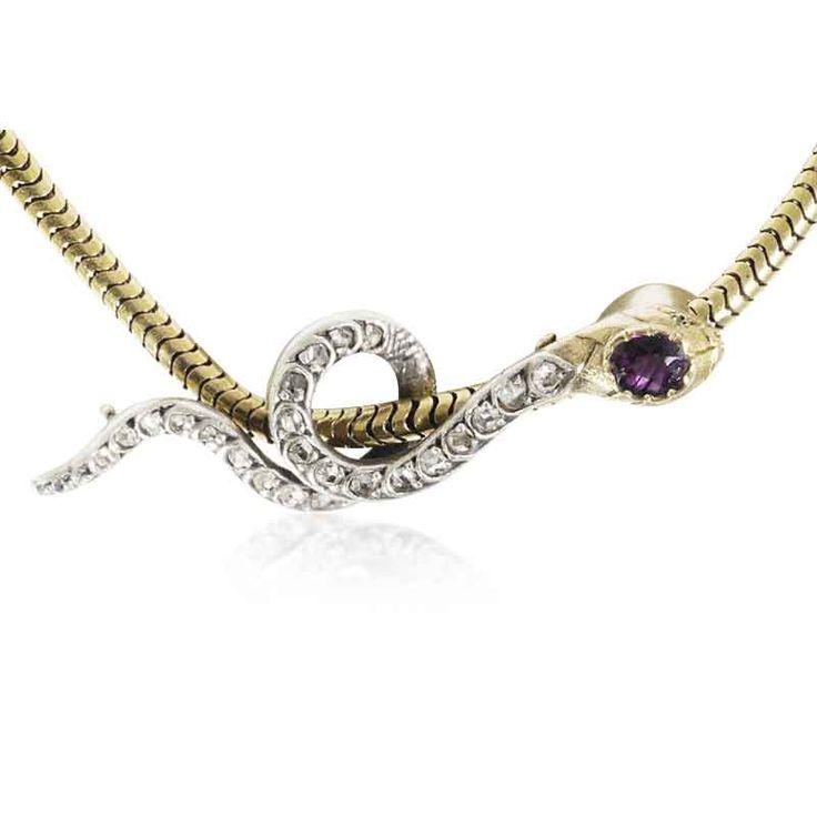 Rubin-Diamant Schlangenanhänger an Kette mit 0,53ct Diamant  und 0,49ct #Rubin besetzt  #vintage #schmuck #schlange #gold