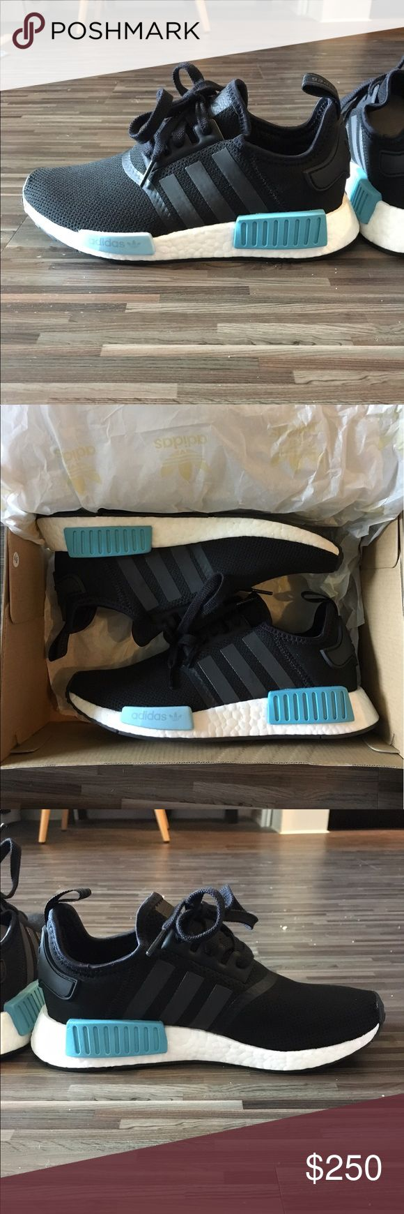 Women's Adidas NMD Icey Blue Sold out in this size!!! These sneakers have never been worn and will be sent in the original box and Finish Line bag with the original receipt (pictured). All NMDs I sell are authentic. I collect Adidas NMDs and sell the colors I decide not to keep, which is why I only sell size 7.5 (beware of sellers selling multiple sizes). They run a half size big, so know your size! Feel free to comment with questions and please, serious offers only; these are very difficult…