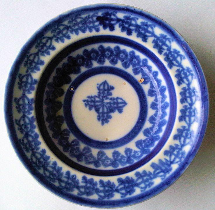 Scottish Antique Flow Blue spongeware bowl