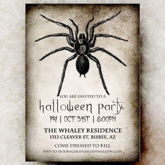 Halloween Invitation - Halloween invitation printable, Spider Halloween…