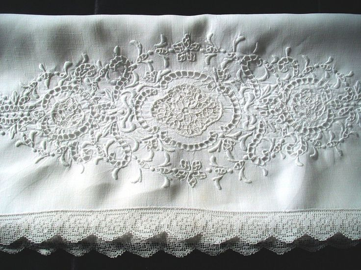 Stunning Vintage Hand Embroidered Whitework and Filet Lace Pillowcase