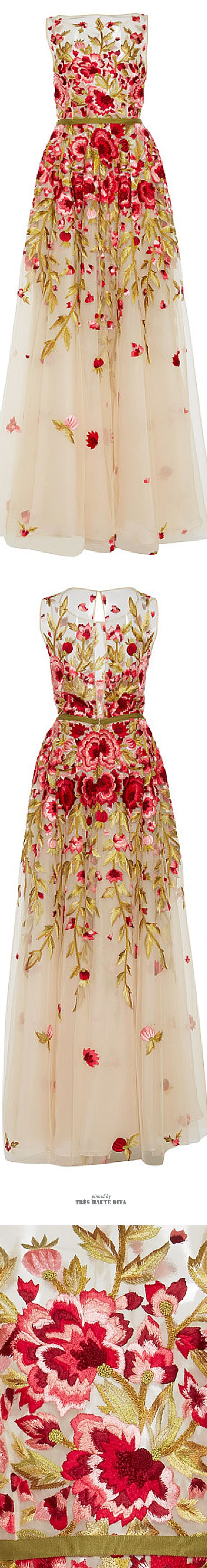 Naeem Khan Floral Embroidered Sleeveless Gown