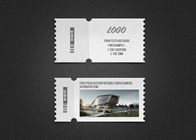 detailed logo or image tickets set psd