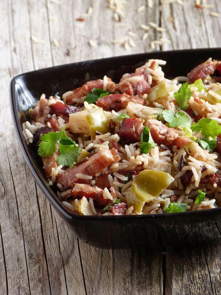 Chic, chic, chocolat...: Sublime salade de riz au porc et aux pommes d'après Jamie Oliver