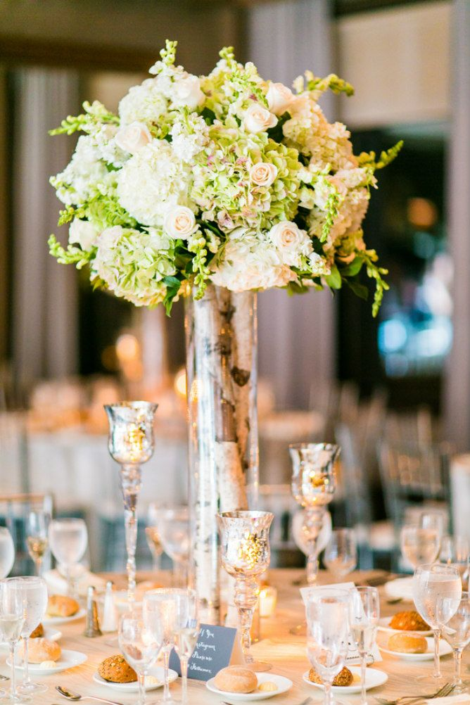 Modern jewish wedding elegant tall centerpiece