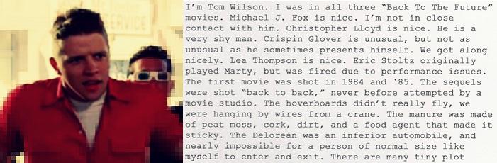 Letters of Note - Epische Business Card von Tom Wilson a.k.a. Biff Tannen mit allen unbeantworteten Fragen zu Zurück in die Zukunft