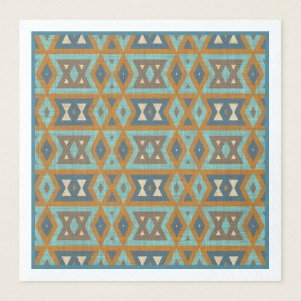 Teal Turquoise Orange Brown Eclectic Ethnic Look Paper Dinner Napkin - rustic gifts ideas customize personalize