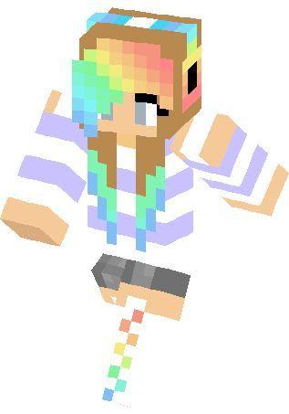 clipart minecraft girl with rainbow hair #42