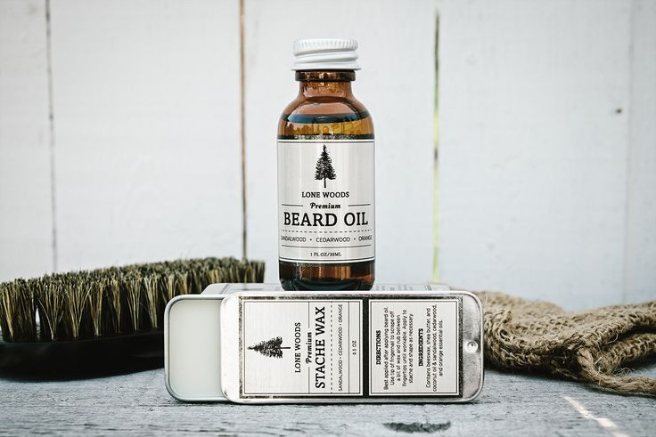 BEARD KIT: Premium Beard Oil and Moustache Wax Kit (Sandalwood Cedarwood and Orange Scent) - Moustache and Beard Care Made in Canada (30.00 CAD) by LONEWOODS