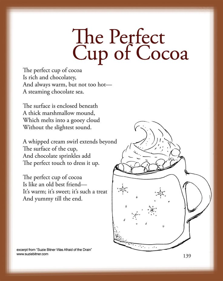 Children's Poem about the Perfect cup of cocoa. Great for school and classroom activities. Sensory language. common core first 1st grade, second 2nd grade, third 3rd grade reading. #ESL