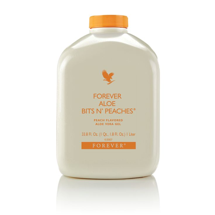 Forever Aloe Bits 'N Peaches®  Forever Aloe Bits N? Peaches? provides another great taste to enjoy with its 100% stabilized aloe vera gel and just a touch of natural peach flavor and peach concentrate.