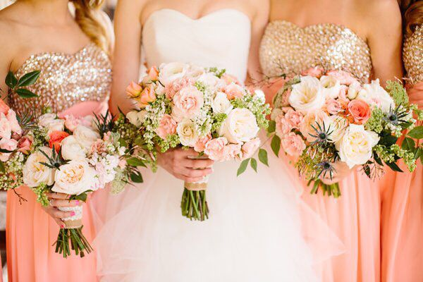Salmon and gold wedding colors