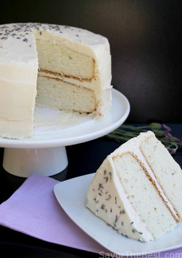 A recipe for a light and airy lavender cake topped with a lavender cream cheese icing. This is a moist and delicious cake.