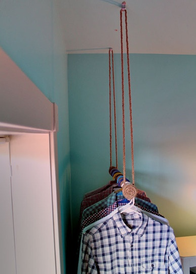 closet ideas! hanging rods from ceiling