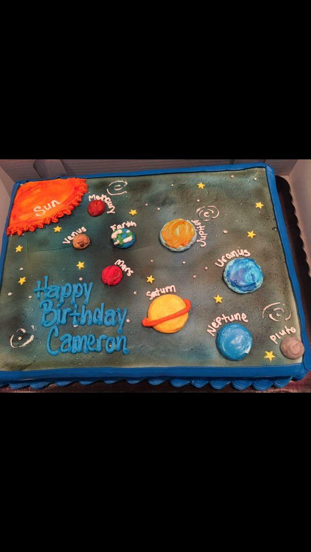 Planets solar system cake birthday