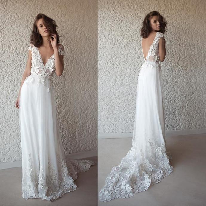 Appliques vintages robes de mariage de plage dos nu, robes de mariage tulle v-cou
