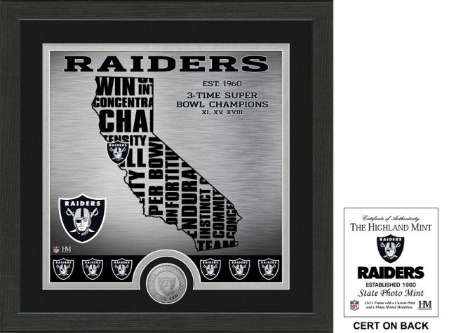 "the Stadium Shoppe - Oakland Raiders ""State"" Minted Coin Photo Mint , $39.99 (http://www.thestadiumshoppe.com/oakland-raiders-state-minted-coin-photo-mint/)"