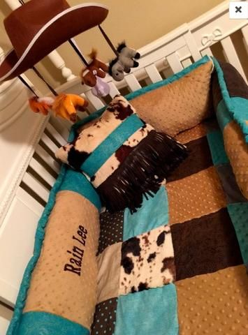 Patchwork cowpoke Custom Western Baby Bedding for your Nursery