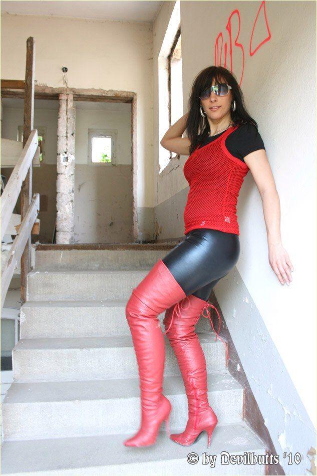 Carolin.  Black Leather Leggins & Red Leather OTK  Boots. Set 3. 2010.