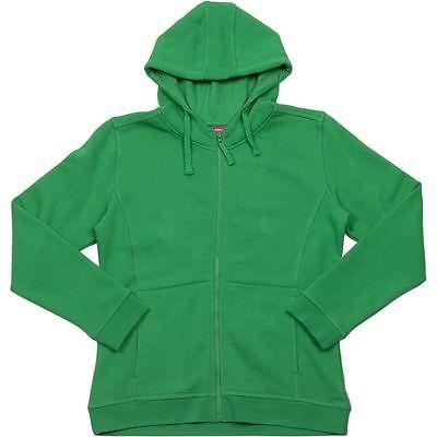 3HJ1 JB's Ladies Full Zip Fleecy Hoodie - GREEN - Sz 8 - 24 Two front pockets