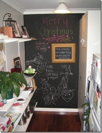 Magnetic blackboard paint at home  ~ the kids will have the space they need to draw on and hopefully it's save all the other walls from acquiring new doodles :)
