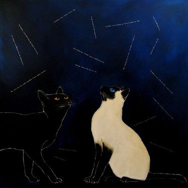 "Saatchi Art Artist Nelly Van Nieuwenhuijzen; Painting, ""Speaking cats"" #art"
