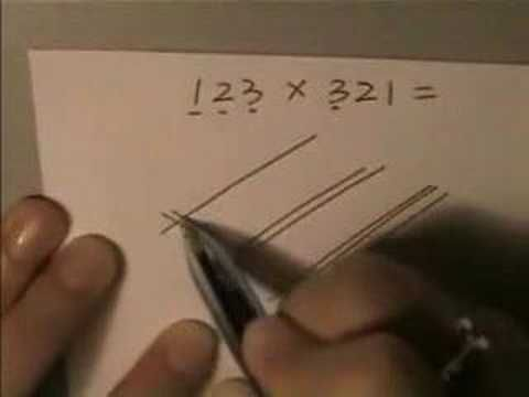 Japanese kids learn to multiply with a completely different method than the one kids in the US do. The Japanese math voodoo/magic is more of a visual technique where you draw lines and count the intersections.