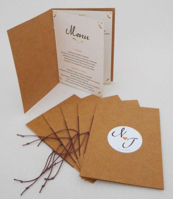 """Cardápio rústico modelo """"Livreto"""" para casamento. <br>Impresso em papel reciclato 180g. <br>Costura em cordão encerado de algodão. <br> <br>* Cores e detalhes personalizados de acordo com o tema do casamento."""